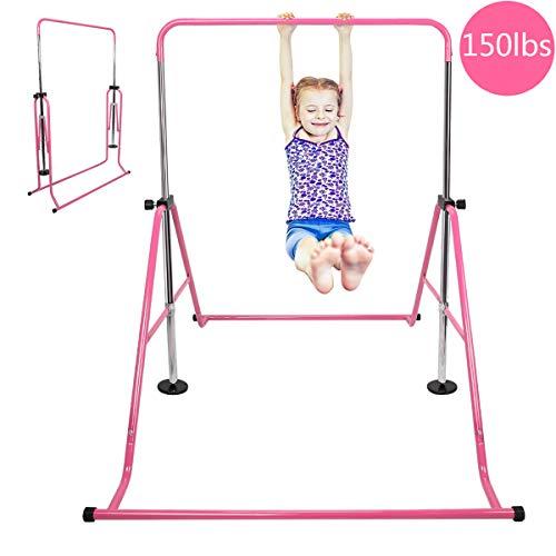 MOPHOTO Expandable Gymnastics Bars Folding Horizontal Bars, Home Gymnastics Equipment Kip Junior Training Bar for Kids Little Gymnasts with Adjustable Height