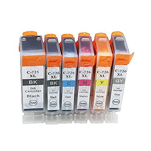 RICR 725 726 Cartuchos De Tinta Remanufacturados para Canon PGI-725 CLI-725 Reemplazo, Compatible para Canon PIXMA MG8270 MG5270 MG6170 6270 MG8170 1set