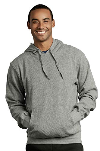 Pullover Hoodie - Men's Waffle Knit Light Long Sleeve Cotton Pullover Hoodie (L, H.Gry) Grey Heather