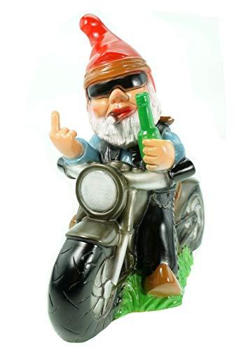 Gartenzwerg Rocker auf Motorrad bruchfestem PVC Zwerg - Made in Germany Figur