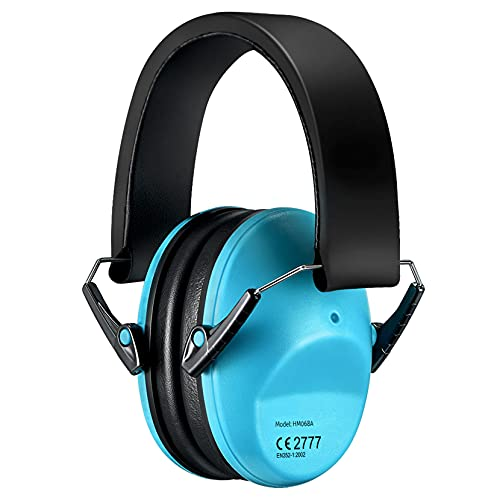 Kids Ear Protection, Adjustable Shooting Hearing Protection, 25dB NRR Sound Noise Reduction Earmuffs, Ear Protector for Range, Monster Trucks, Nascar, Study, for Infant Toddlers Children Teens-Blue