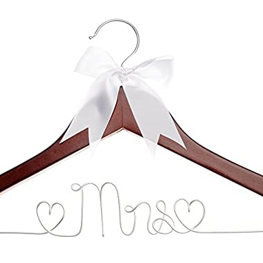 Ella Celebration Mrs Wedding Dress Hanger, Wood and Wire Hangers for Brides (Mahogany)