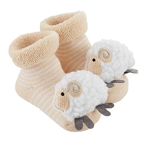 Stephan Baby Rattle Socks, Stripey Cream and White Lambs,...