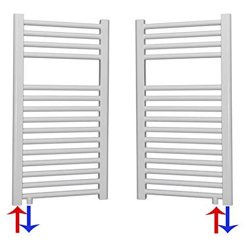Badheizkörper Handtuchheizkörper mit Anschluss links oder rechts | Heizkörper mit versetztem Mittelanschluss (0764 x 400, Weiß) (287 Watt nach EN442)
