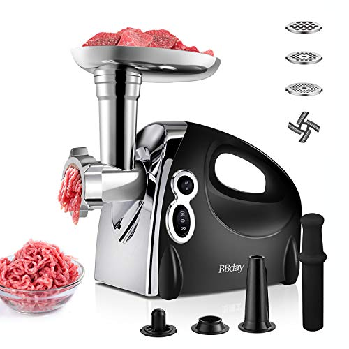 Electric Meat Grinder, Multifunction Meat Mincer & Sausage Stuffer,3 Grinding Plates,1200W Max,Sausage & Kubbe Kit for Home Kitchen, ETL Approved, Easy to Clean