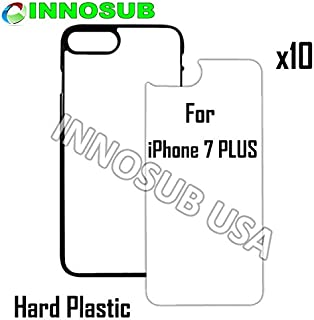 10 x Apple iPhone 7 Plus-Plastic-Black - Blank dye case + Inserts for dye Sublimation Phone Cover/Blank Printable case, Made by INNOSUB USA