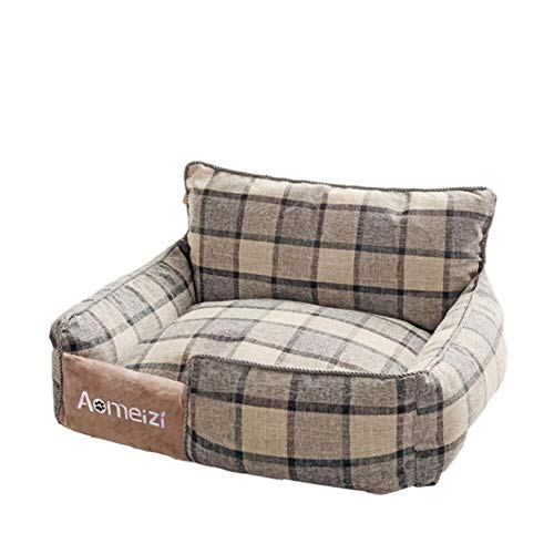 LTYD Four Seasons dog beds, pet mats, cotton, linen, soft and comfortable, dog, water, sleep, dog sofa, big dog bed, breathable, machine washable,Gray back,XL