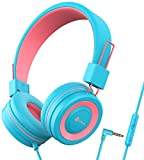 iClever HS14 Kids Headphones with Microphone, Headphones for Kids with 94dB Volume Limited for Boys Girls, Adjustable Headband, Foldable, Child Headphones for Study Tablet Airplane School-Blue,Pink