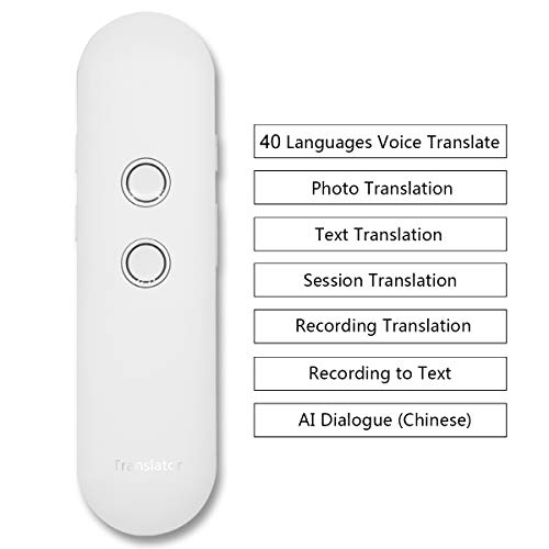 OXSII 2019 New Updated 40+ Language Translator Real Time Instant Two Way Speech Translate with Text Photo Recording Translation Support Chinese AI Dialogue (White)