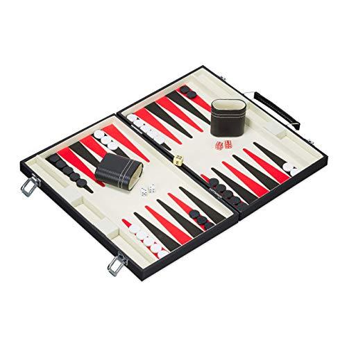 Relaxdays 10023503 Backgammon Koffer, hochwertiges Set, inklusive komplettem Zubehör, Tavla Brettspiel, B x T 47 x 36 cm, schwarz
