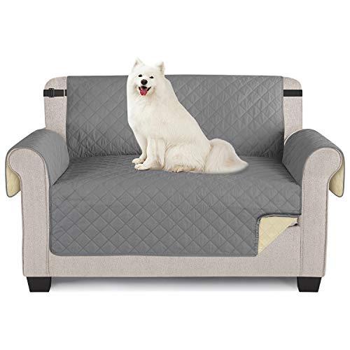 Sofabezüge wasserdichte Sofa Überwürfe mit elastischen Riemen Anti-Rutsch-Schaum für das Wohnzimmer Schutz für Hunde Vor Haustieren, Verschütten, Abnutzung und Riss schützen (Grau, 2 Sitzer 116*190cm)