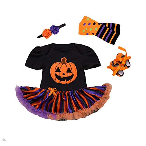 BabyPreg Disfraz Bebe Halloween Vestido Tutu Bebe Niñas 4Pieza (S / 3-6 Meses, Calabaza Negra)