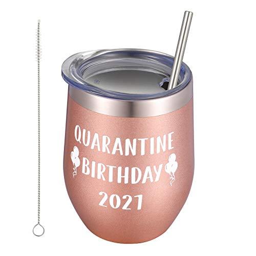 GOTH Perhk Tasse mit Quarantäne-Motiv zum Geburtstag 2021, lustiges Quarantäne-Geburtstagsgeschenk, 340 ml, Edelstahl, vakuumisoliert, Weinglas (Roségold)