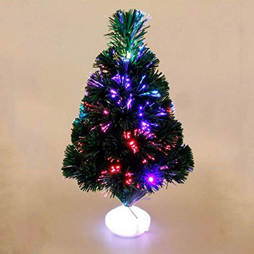 weiwei Mini Fiber Optic Christmas Tree Artificial Christmas Tree with Lights Led Green Artificial Xmas Tree Multi-Colored Color Changing Light Xmas Tree Decoration for Home Bedroom Living Room Rest