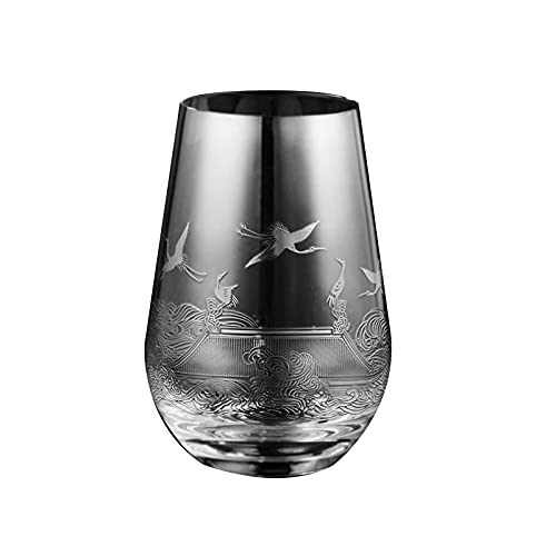WSYGHP Copa de Vidrio de Vidrio, una Sola Capa, Vidrio de Cristal sinfónico, Taza de té, Taza de té Verde, Flor de té sinfonía Vasos de Whisky (Color : Flat Light)