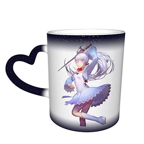 IUBBKI RWBY Weiss Schnee cerámica sensible al calor que cambia de color cielo estrellado novedad taza de viaje única Galaxy taza de café tazas de té tazas 12OZ
