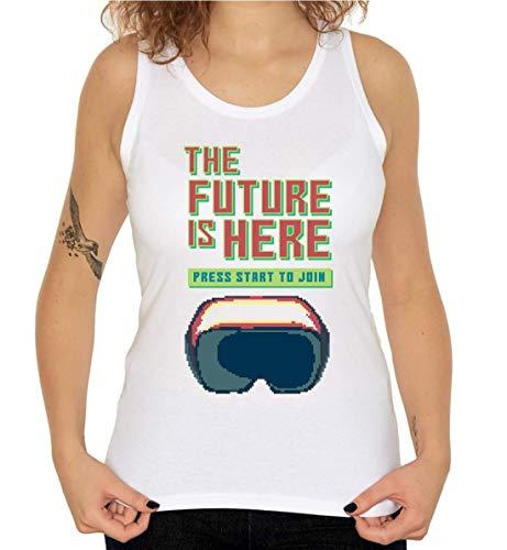The Future Is Here Virtual Reality Pixel Art Camiseta sin Mangas sin Mangas para Mujer Medium