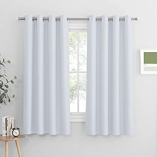 PONY DANCE Window Curtains White - Light Block Curtain Panels Energy Saving Window Drapes/Home Decoration Modern for Kids/Living Room, 52 Wide by 63 Inches Long, Greyish White, 2 PCs