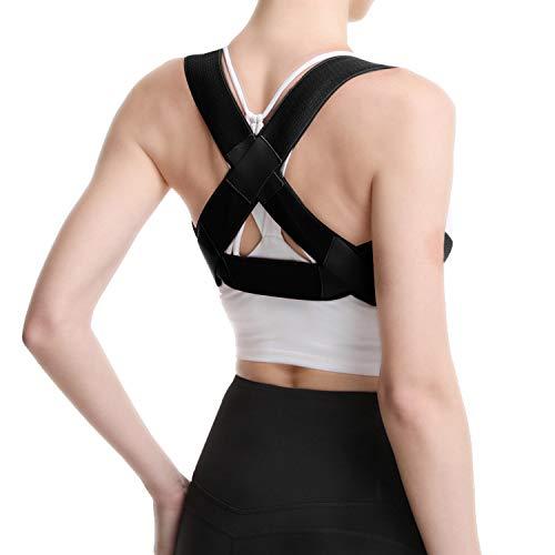DREAM SLIM-Ultra-Lightweight Back Brace Posture Corrector for Men&Women&Kids Slouching Corrector, Clavicle Support, Back Straightener(Black, Medium)