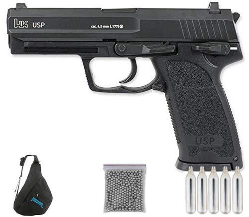 H&K USP Blowback Co2 | Pack Pistola de balines (perdigones Bolas de Acero BB's). Arma de Aire comprimido CO2 Calibre 4,5mm <3,5J