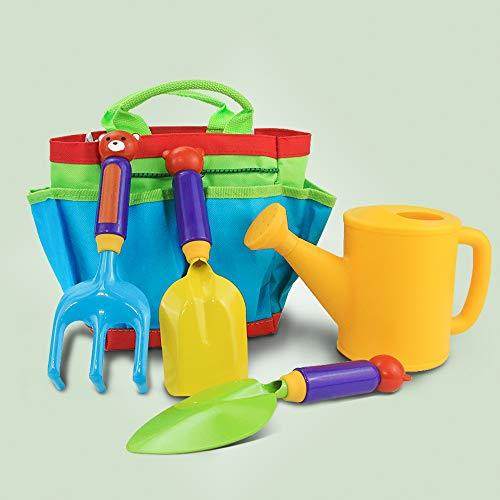 Gartenwerkzeug Set Kinder Gartengeräte mit Gartenschere Spaten Schaufel Sprühflasche Rechen und Aufbewahrungskoffer für Garten Balkon