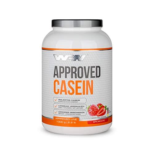 WFN Approved Casein - Erdbeere - 1 kg Dose - Casein Protein mit Laktase - Cremiges Eiweißpulver - Sehr gut löslich - 33 Portionen - Made in Germany