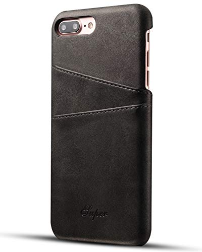 iPhone 8 Plus Card Case, XRPow Synthetic Leather Wallet Case with Slim Professional Executive Snap On Cover with 2 Card Holder Slots for Apple iPhone 7 Plus/8 Plus