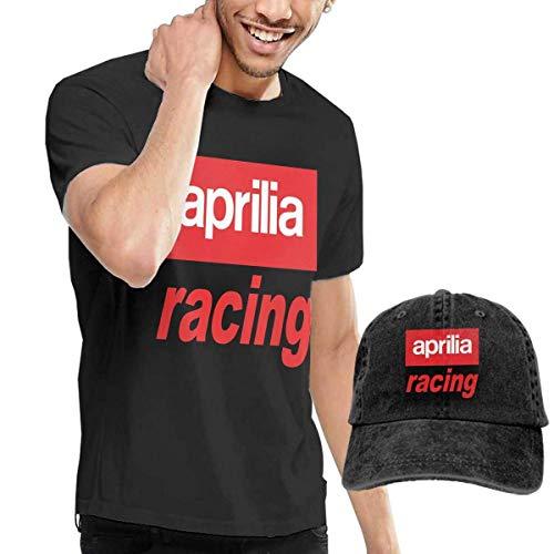 Design Aprilia Racing Logo T-Shirts mit Hüten für Mann 100% Baumwolle Kurzarm Schwarz