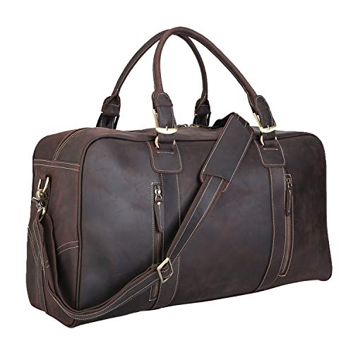 Polare Mens Vintage Leather Duffel Overnight Travel Duffle Weekender Bag With YKK Metal Zippers (X-large 23.2'')
