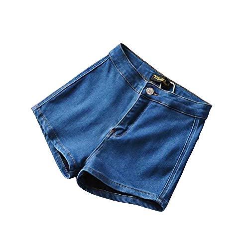 Pantalones Cortos de Verano para Mujer Americana Cintura Alta Cadera Delgada Cadera Melocotón Bolsillo Pantalones Cortos de Mezclilla Flacos