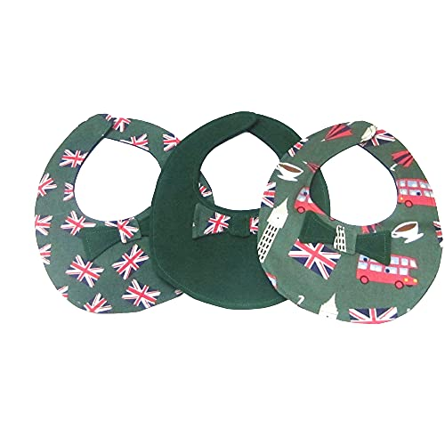 Green British Flags, Icons, Solid Green Bow Tie Baby Bib (All 3 Bibs)