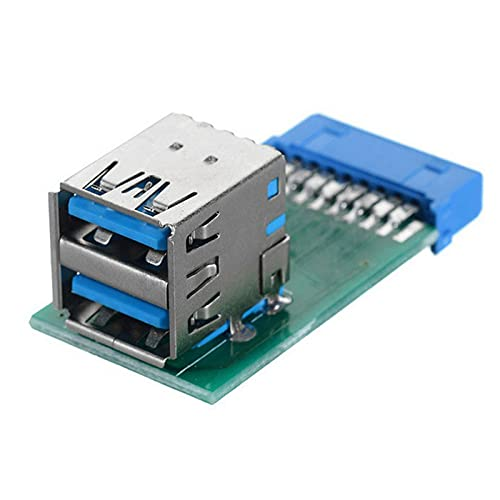 Kafuty-1 Adaptador USB 3.0 Vertical Dual USB 3.0 Tipo A Hembra a Placa Base Adaptador de Ranura de encabezado Hembra Vertical Placa Base Encabezado de Caja de 20 Pines a Conector de Puerto Dual