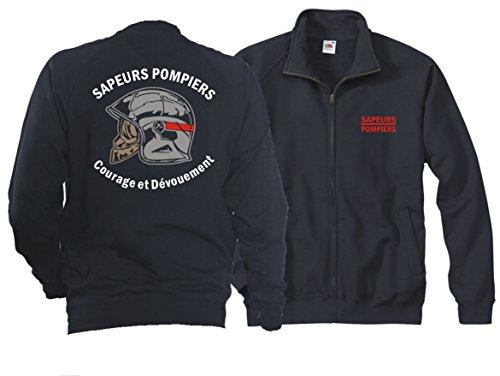 feuer1 Veste sweat (Navy/Bleu Marine) Sapeurs Pompiers Casque - Courage et Dévouement - Marque Rouge S
