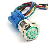 DollaTek 19mm 12V Interruptor momentáneo Botón pulsador Interruptor Símbolo de energía Ojo de ángel LED Luz Botón pulsador de metal con cable de conexión - Verde