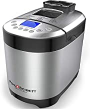 Pohl Schmitt Stainless Steel Bread Machine Bread Maker, 2LB 17-in-1, 14 Settings Incl Gluten Free & Fruit, Nut Dispenser, Nonstick Pan, 3 Loaf Sizes 3 Crust Colors, Keep Warm, and Recipes