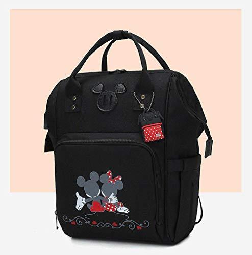 qiqiu Große Kapazität Babytasche Mutter- und Kindertasche, Flaschenwärmertasche, Windelersatztasche - Zwei schwarze Mickey Mouse Kapazität Babytasche