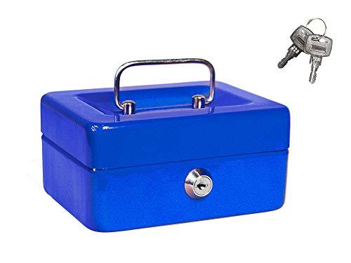Vetrineinrete® Cassetta portavalori cassaforte di sicurezza in metallo con scomparto e divisori portamonete doppia chiave (15 x 12 x 8 cm) M45