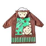 RXL Wasserdicht Regenmantel Kinderregenmantel, Junge, Mädchen Atmungsaktiver Babyponcho mit Taschenregenmantel Schön (Color : Coffee, Size : L)
