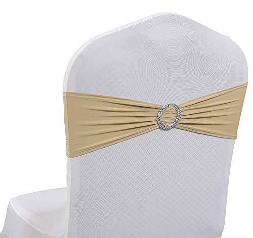 Spandex Elastic Stretch Lycra Funda para silla Fajas Bandas Arcos Faja con hebilla para el banquete de boda en casa...