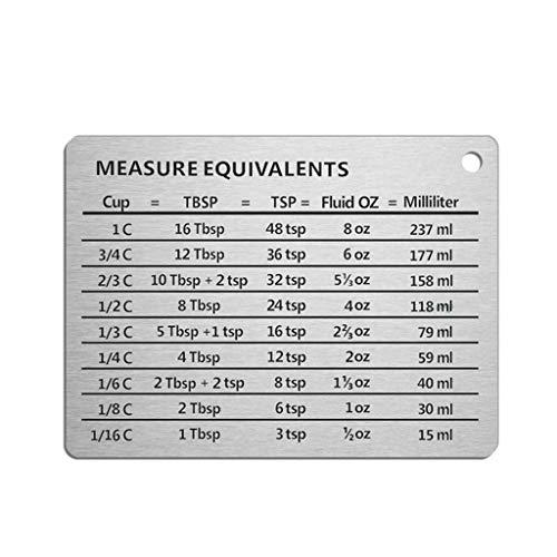 Buwei Professional Measurement Conversion Chart Kühlschrankmagnet aus 18/8 Edelstahl, Umbauten für Tassen, Esslöffel, Teelöffel, Flüssig-Oz und Milliliter