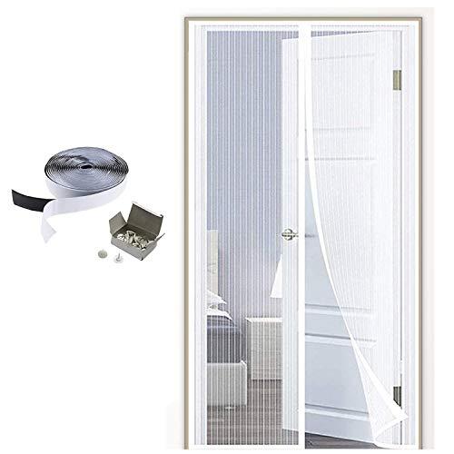MENGH Mosquitera Puerta corredera 110x205cm Pantalla MagnéTica Cerrado automáticamente Plegable Protección contra Insectos Adapta al Tamaño de la Puerta hasta Blanco