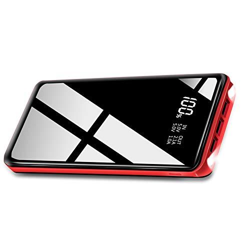 XINSL Powerbank 26800mAh Hohe Kapazität Externer Akku Tragbares Ladegerät mit 2 LED Leuchten und 3 Ausgängenports leichte universelles Ladegerät Kompatibel mit IOS Android Handy Tablet