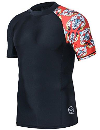 HUGE SPORTS Men's Splice UV Sun Protection UPF 50+ Skins Rash Guard Short Sleeves(Black, M)