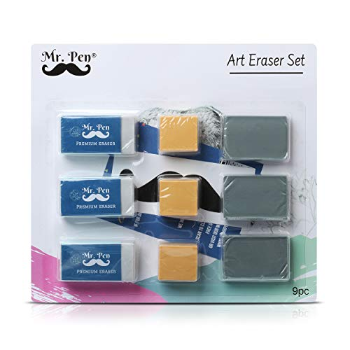 Mr. Pen Eraser Set with Kneaded Erasers, Gum Erasers and Pencil Erasers, Pack of 9