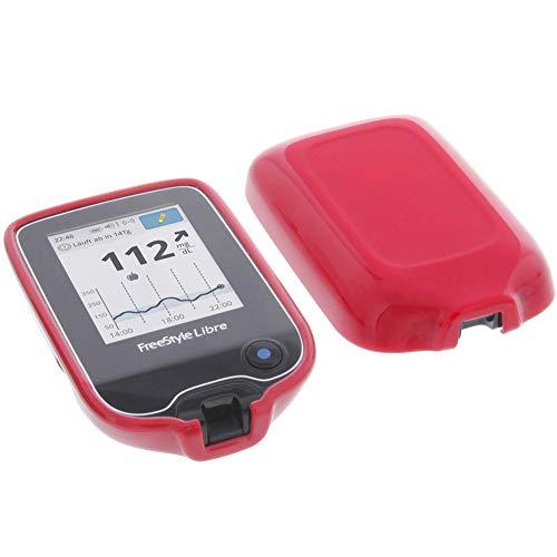 foto-kontor Hülle für Abbott Freestyle Libre 2 Tasche Gummi TPU Schutz rot
