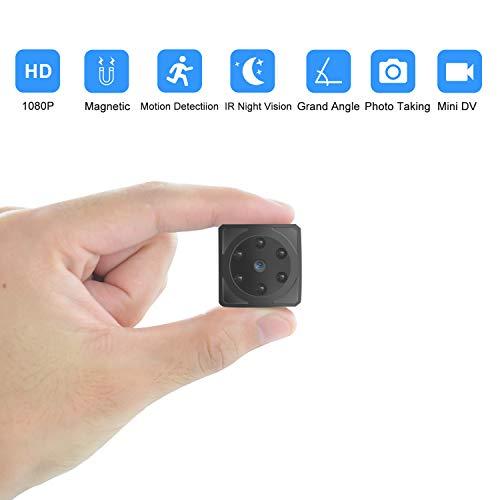 Mini cámaras espía Oculta Videocámara 1080P HD Cámara Vigilancia Portátil Secreta Compacta con Detector de Movimiento IR Visión Nocturna, Camaras de Seguridad Pequeña Interior/Exterior