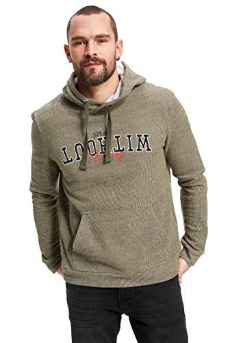 DeFacto Fashion - Sudadera con capucha para hombre, estampada, informal, de manga larga, para primavera y otoño caqui S