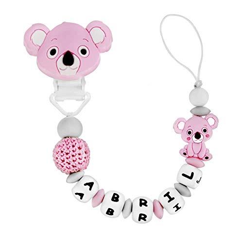 RUBY - Chupetero Personalizado para Bebé con Nombre Bola Silicona Antibacteria con Pinza Redonda de Silicona, Chupetero de Koala (Rosa)