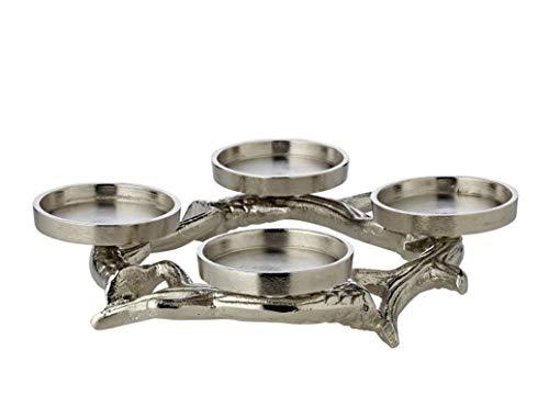EDZARD Adventskranz Geweih, Aluminium vernickelt, silberfarben, Durchmesser 22 cm, für Kerzen Ø 6 cm, moderner Kerzenhalter, perfekt für Cornelius Kerzen, individuell dekorierbar