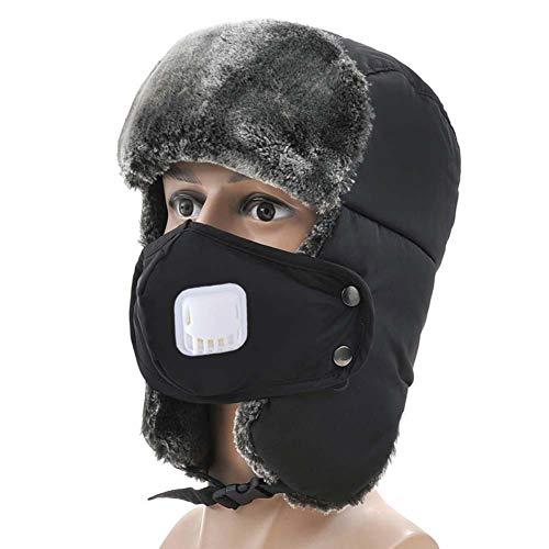 Sombrero unisex para hombre y mujer, gorro ruso deportivo, esquí, snowboard, equitación, pasamontañas de piel sintética, térmicas, sombrero Trapperador de invierno, con máscara desmontable, sombrero de aviador piloto